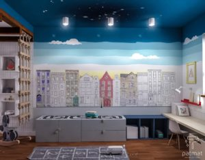 Wizualizacja ściany z muralem