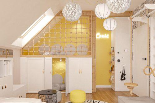 patmat pokoje dla dzieci żółty pokój z antresolą